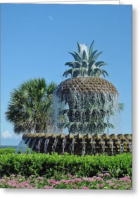 Palmetto Trees Greeting Cards - Palmetto Fountain Greeting Card by Suzanne Gaff