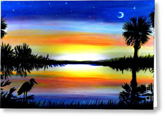 Silhouettes Pastels Greeting Cards - Palmetto Moon Low Country Sunset II Greeting Card by Patricia L Davidson