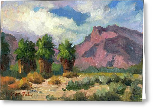 Desert Lake Paintings Greeting Cards - Palms and Indian Head Mountain Greeting Card by Diane McClary