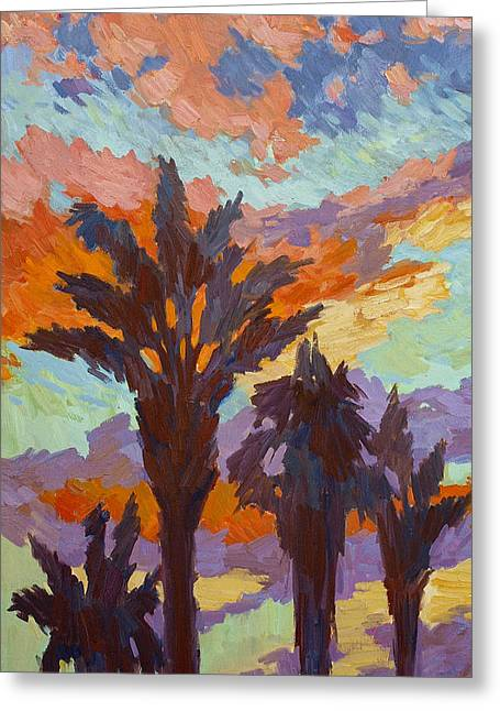 Dated Greeting Cards - Palms and Sunrise Greeting Card by Diane McClary