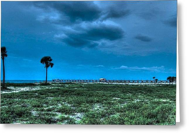 Crimson Tide Greeting Cards - Palms and the Gulf Shore Pier Greeting Card by Michael Thomas