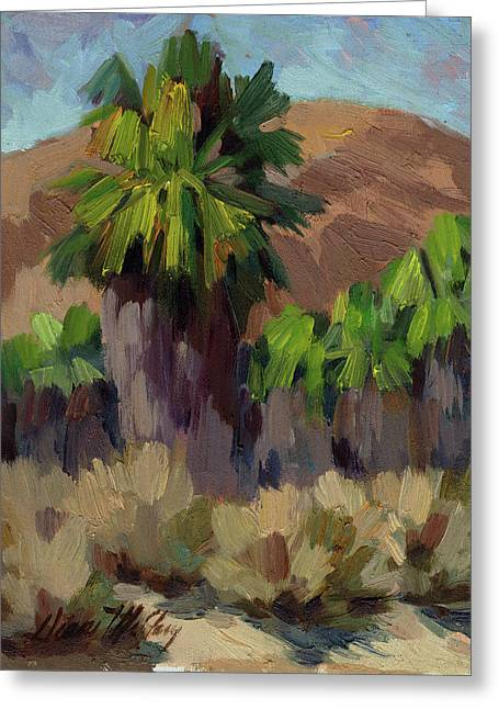 Desert Lake Paintings Greeting Cards - Palms at San Andreas Greeting Card by Diane McClary