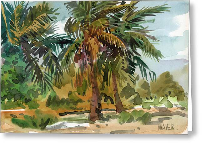 Palms in Key West Greeting Card by Donald Maier