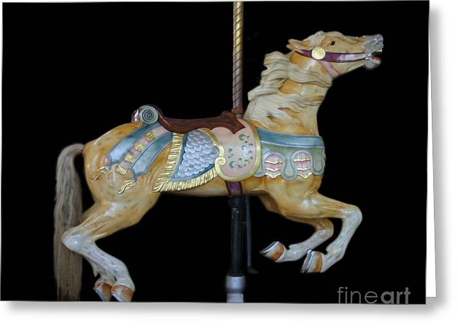Palomino Carousel Horse Greeting Card by Cindy Lee Longhini