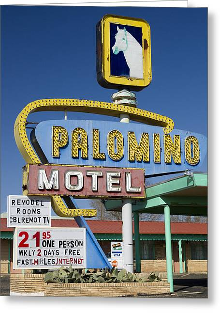 Grungy Greeting Cards - Palomino Motel Route 66 Greeting Card by Carol Leigh