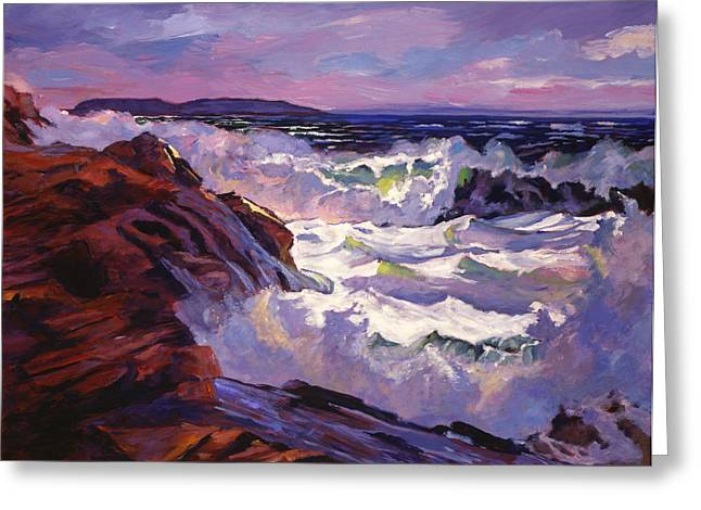 Winter Storm Paintings Greeting Cards - Palos Verdes Beach Greeting Card by David Lloyd Glover