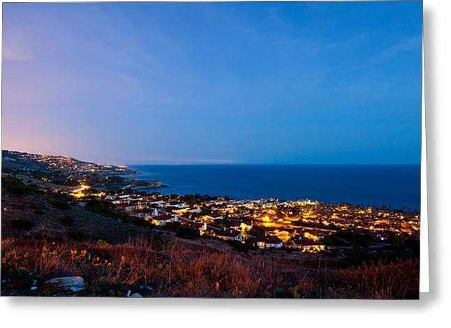 Pch Greeting Cards - Palos Verdes City Lights Greeting Card by Adam Pender