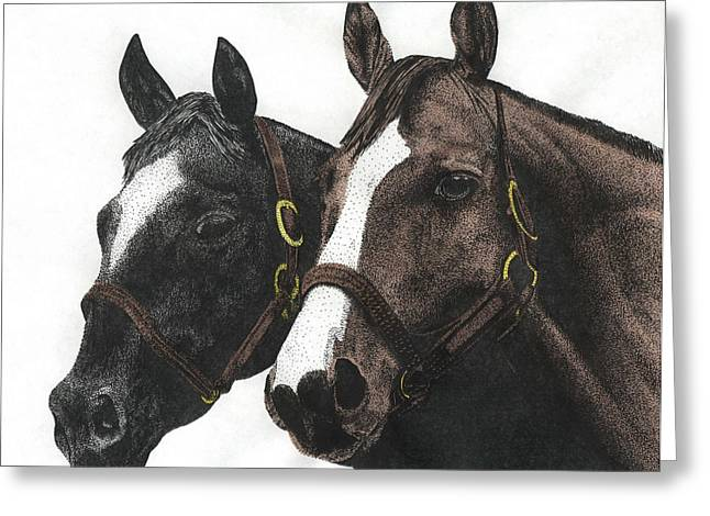 Barn Pen And Ink Greeting Cards - Pals Greeting Card by Mike OBrien