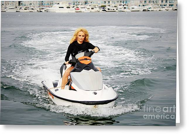Ski Racing Greeting Cards - Pamela Anderson is a jet ski vixen Greeting Card by Nina Prommer