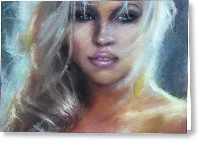 Pamela Anderson Greeting Card by Ylli Haruni