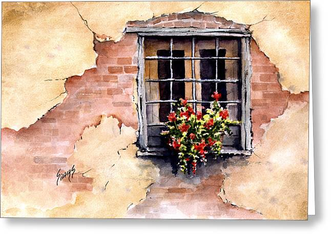 Flower Boxes Greeting Cards - Pampa Window Greeting Card by Sam Sidders