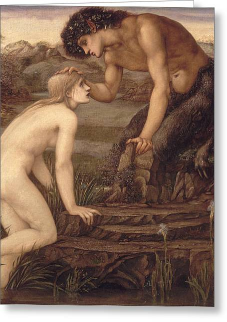 1833 Greeting Cards - Pan and Psyche Greeting Card by Sir Edward Burne-Jones