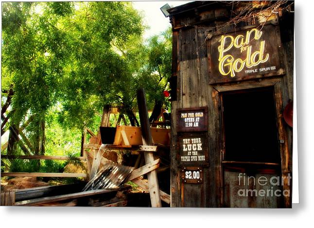 Wooden Building Greeting Cards - Pan for Gold in Old Tuscon Arizona Greeting Card by Susanne Van Hulst