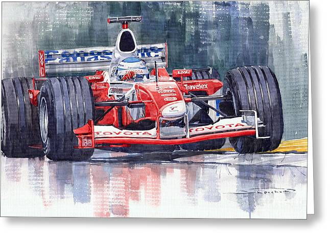 Salo Greeting Cards - Panasonic Toyota TF102 F1 2002 Mika Salo Greeting Card by Yuriy  Shevchuk