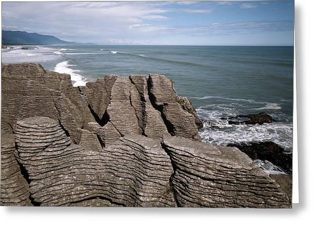 Pancakes Greeting Cards - Pancake Rocks, South Island, New Zealand Greeting Card by Michael Marten