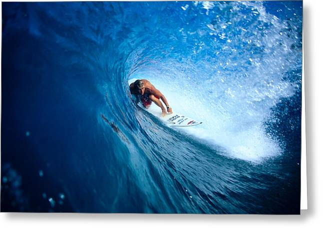 Surfing Art Greeting Cards - Pancho In The Tube Greeting Card by Vince Cavataio - Printscapes