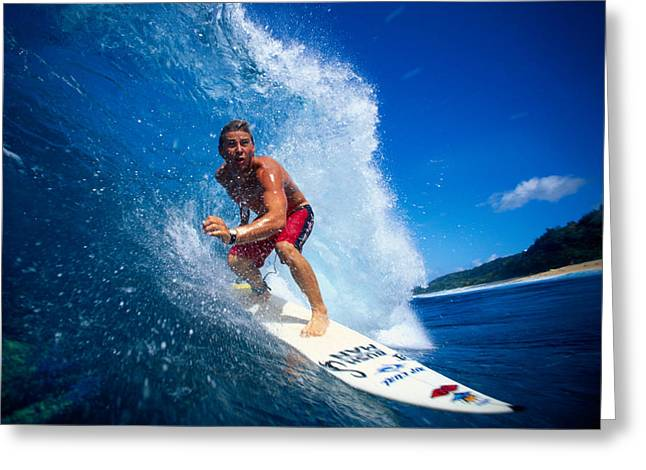 Surfing Art Greeting Cards - Pancho Makes The Wave Greeting Card by Vince Cavataio - Printscapes