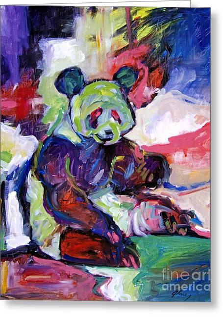 Captive Animals Greeting Cards - Panda Greeting Card by David Lloyd Glover