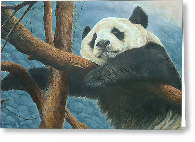 Reserve Paintings Greeting Cards - Panda Pondering Greeting Card by Shawn Shea