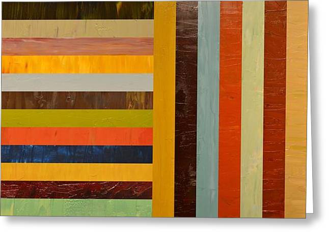 Geometric Effect Greeting Cards - Panel Abstract - Digital Compilation Greeting Card by Michelle Calkins