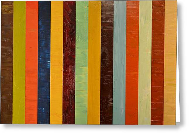 Geometric Effect Greeting Cards - Panel Abstract lll  Greeting Card by Michelle Calkins