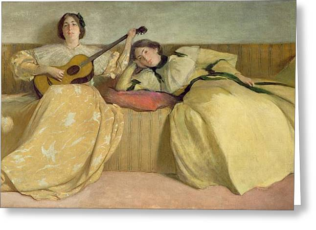Strumming Greeting Cards - Panel for Music Room Greeting Card by John White Alexander
