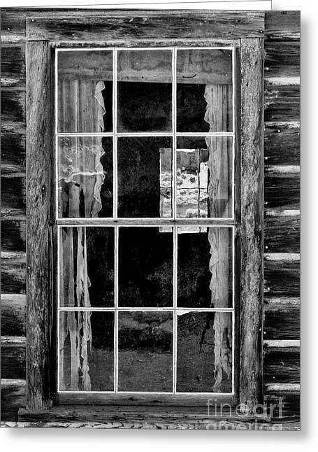 Cabin Window Greeting Cards - Panes to The Past Greeting Card by Sandra Bronstein