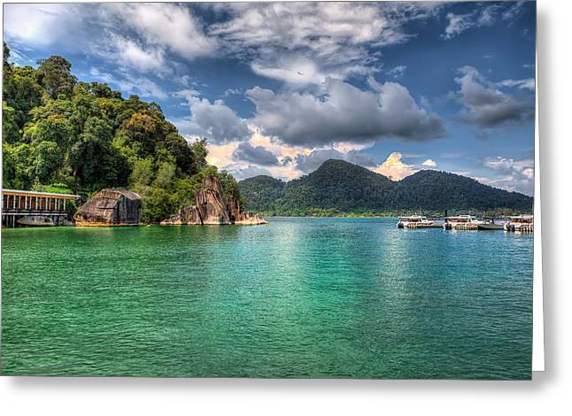 Straits Of Malacca Greeting Cards - Pangkor Laut Greeting Card by Adrian Evans