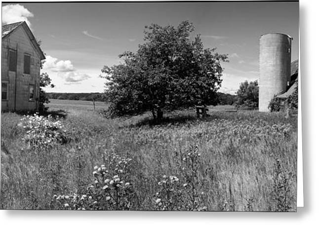 Stephen Mack Greeting Cards - Panorama - Old House with Barn-view2 Greeting Card by Stephen Mack