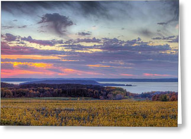 Traverse City Greeting Cards - Panorama from Old Mission Peninsula Greeting Card by Twenty Two North Photography