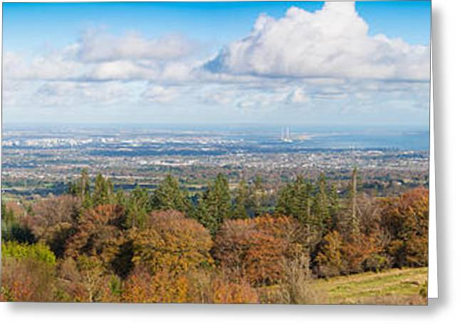 Heathland Greeting Cards - Panorama of Dublin City and the Dublin bay Greeting Card by Semmick Photo