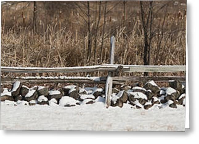 Civil Greeting Cards - Panorama Of Gettysburg Fence And Stone Greeting Card by Greg Dale