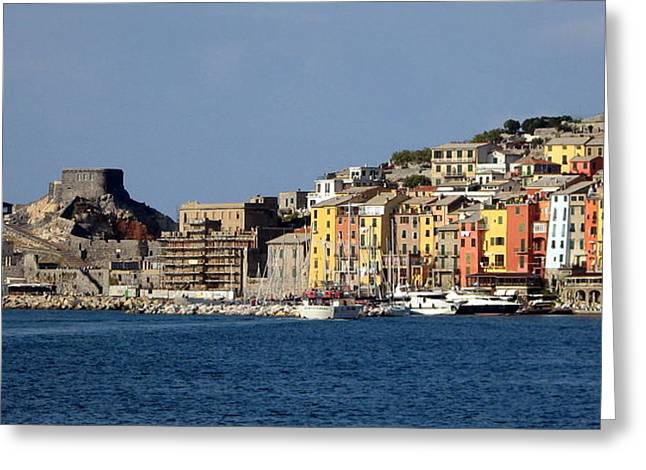 Carla Parris Greeting Cards - Panorama of Portovenere Greeting Card by Carla Parris