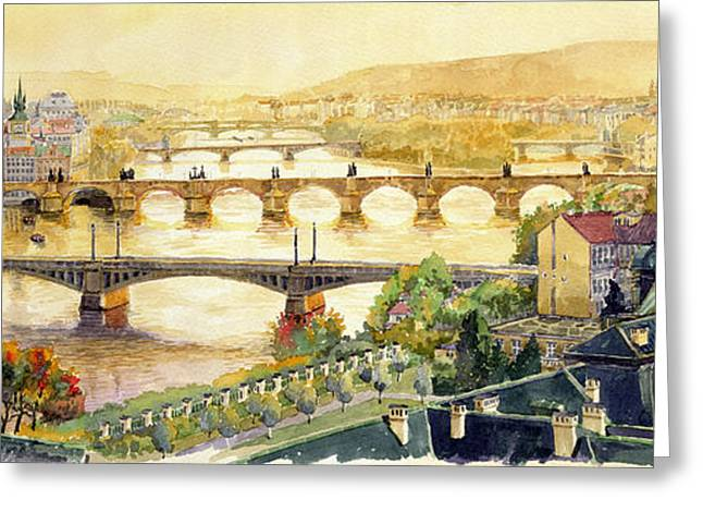 Europe Greeting Cards - Panorama Prague Briges Greeting Card by Yuriy  Shevchuk