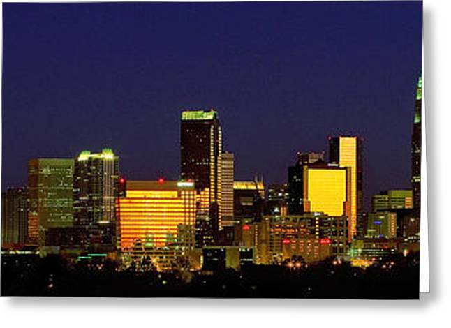 Mecklenburg County Greeting Cards - Panoramic Charlotte NC skyline Greeting Card by Patrick Schneider