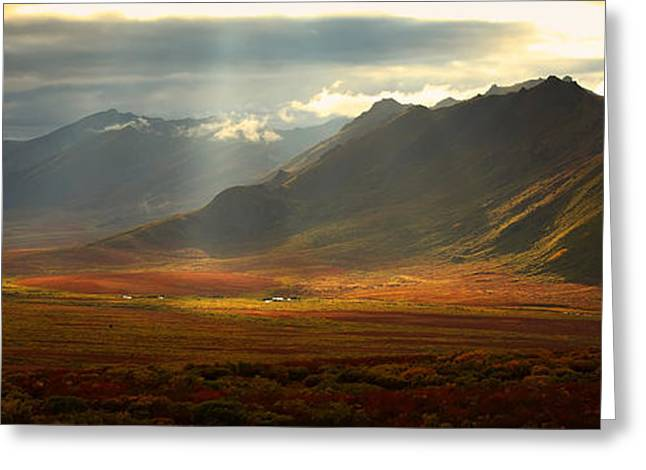Panoramic Image Of The Cloudy Range Greeting Card by Robert Postma