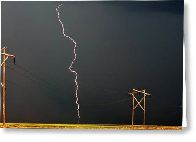 Thunderstorm Digital Art Greeting Cards - Panoramic Lightning Storm and Power Poles Greeting Card by Mark Duffy