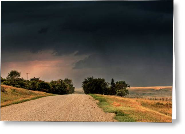 Thunderstorm Digital Art Greeting Cards - Panoramic Lightning Storm in the Prairie Greeting Card by Mark Duffy