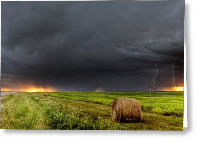 Thunderstorm Digital Art Greeting Cards - Panoramic Lightning Storm in the Prairies Greeting Card by Mark Duffy