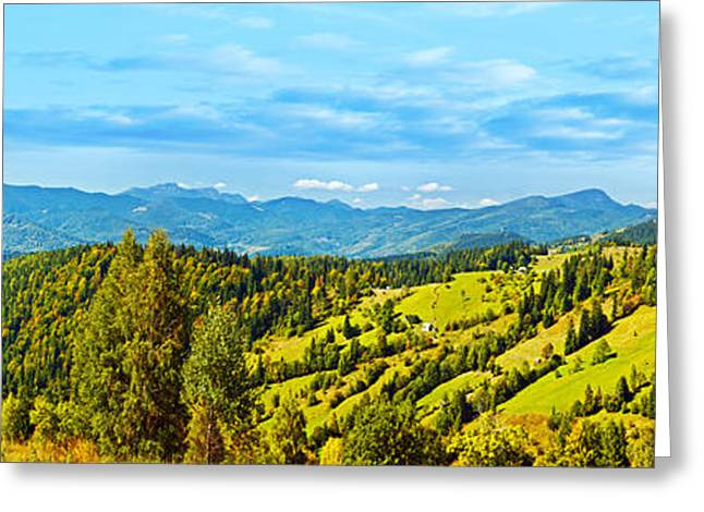 Peaceful Scenery Greeting Cards - Panoramic mountains landscape  Greeting Card by Anna Omelchenko