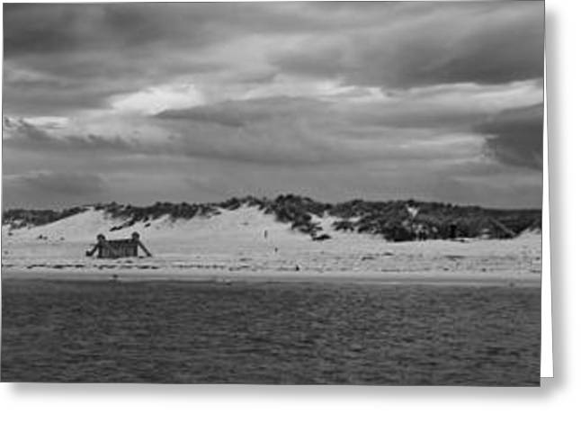 Wintry Greeting Cards - Panoramic of Lossiemouth beach on west coast of Scotland Greeting Card by Zoe Ferrie