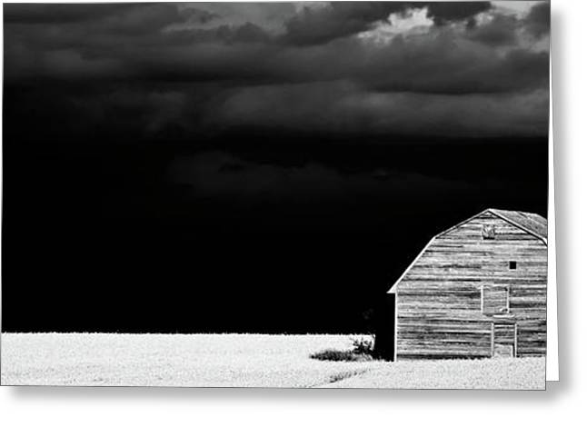 Summer Storm Digital Art Greeting Cards - Panoramic Prairie Storm and Barn Greeting Card by Mark Duffy