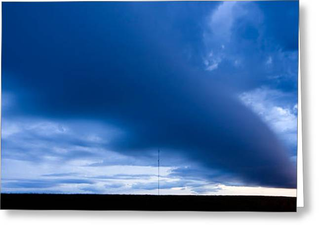 Summer Storm Digital Art Greeting Cards - Panoramic Prairie Storm Canada Greeting Card by Mark Duffy