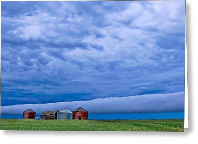 Summer Storm Digital Art Greeting Cards - Panoramic Prairie Storm  Greeting Card by Mark Duffy