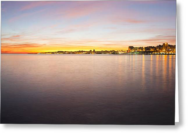 Reflex Greeting Cards - Panoramic sunset Greeting Card by Mauricio Reis