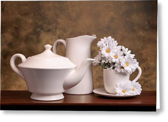 Tea Kettle Greeting Cards - Panoramic Teapot with Daisies Greeting Card by Tom Mc Nemar