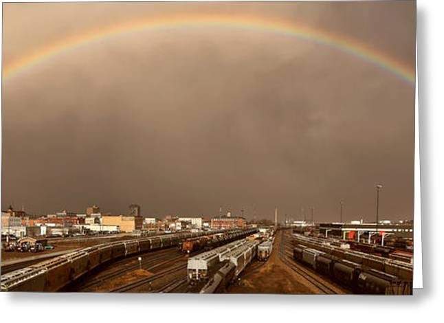 Summer Storm Digital Art Greeting Cards - Panoramic Train Yard Storm Greeting Card by Mark Duffy