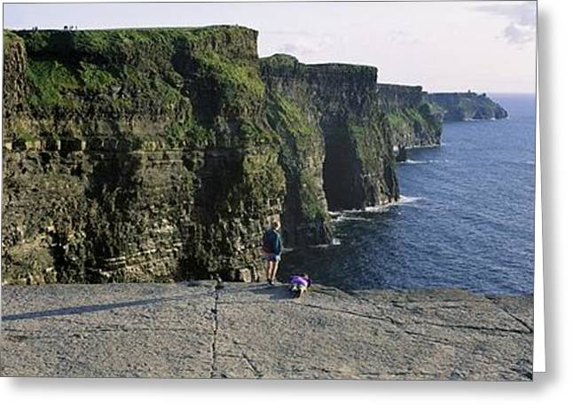 Best Sellers -  - Cliffs Over Ocean Greeting Cards - Panoramic View Of Cliffs, Cliffs Of Greeting Card by The Irish Image Collection