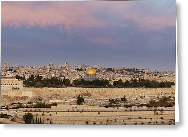 Desert Dome Greeting Cards - Panoramic View Of Jerusalem Greeting Card by Noam Armonn
