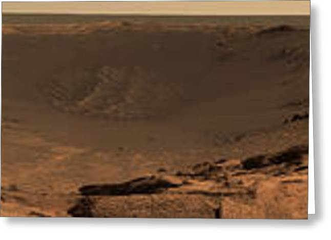 Experiment Greeting Cards - Panoramic View Of Mars Showing Greeting Card by Stocktrek Images